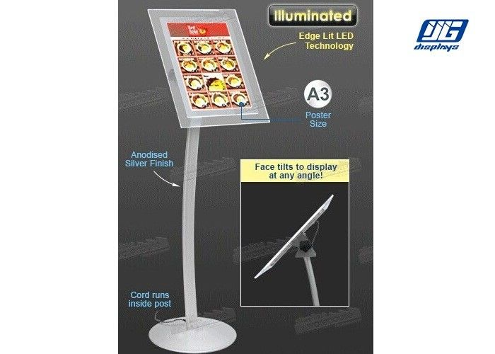 A3 Poster Display Stands ,  Illuminated LED Poster Frame Stand Bevel Display